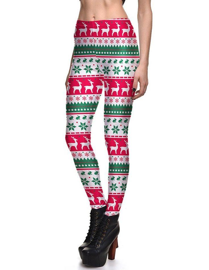 Striped Snowflake Reindeer Print Womens Christmas Tights Leggings