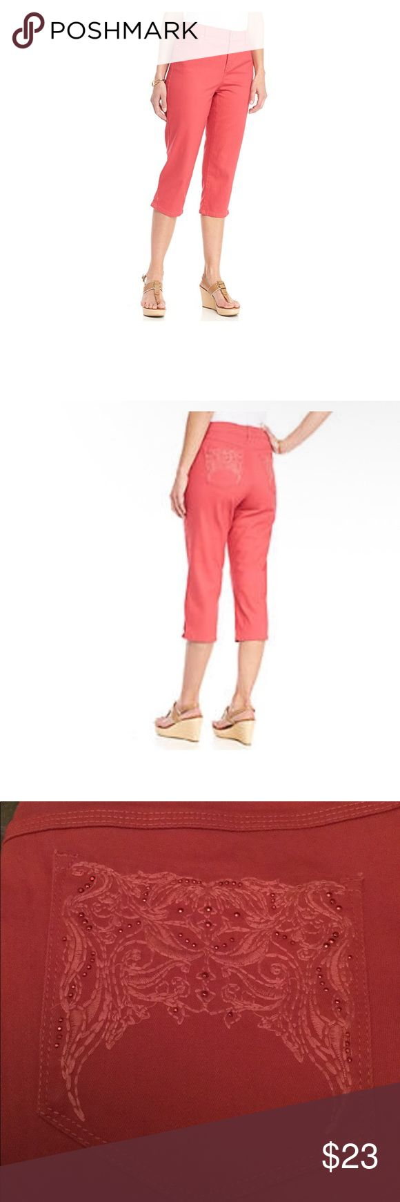 Gloria Vanderbilt Woven Coral Capri Spring will be here soon! These missy mid-rise capri's are beautiful. They have A lovely glitter pocket detail. Cute! Gloria Vanderbilt Pants Capris