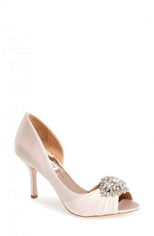 Mischka 'Pearson' Pump   Fashiondoxy.com  Description - Free shipping and returns on Badgley Mischka 'Pearson' Pump at Fashiondoxy.com. A gorgeous crystal brooch glams up a peep-toe d'Orsay detailed with chiffon gathers at the toe and a slender heel.