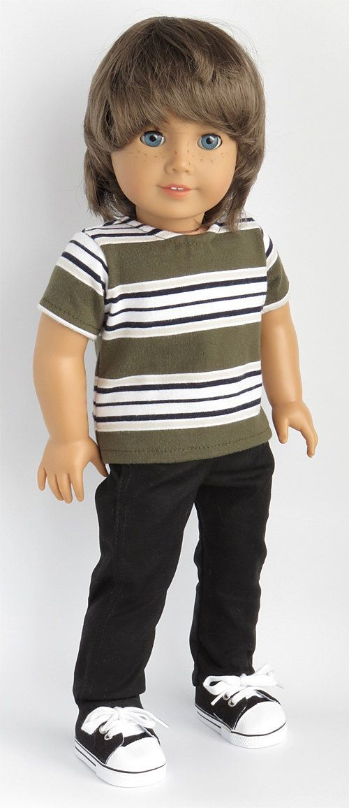 American Boy Doll Clothes Outfit.      Grey, Black, Tan, and White Striped Tee.  Black Pants.