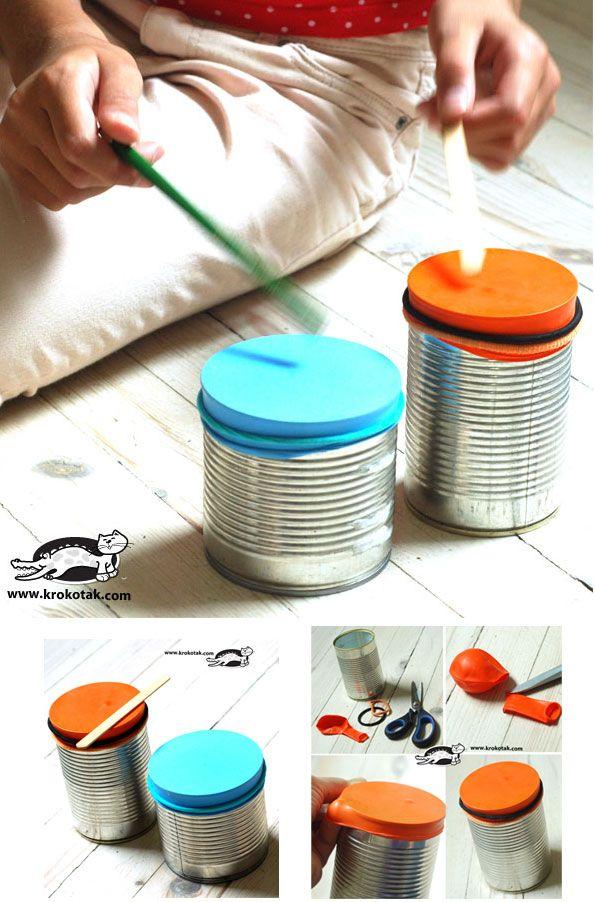 Des tambours fabriqués à partir de boites de conserve ! Stimulation sensorielle