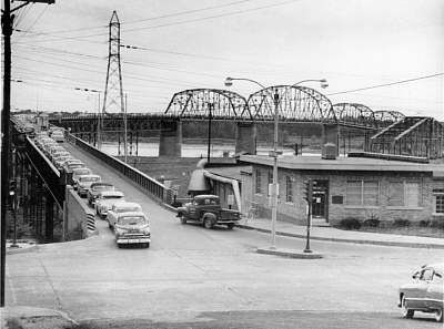 Fun historic photos of Clark Bridge via AltonWeb // The River Bend - Clark Bridge, Alton, Illinois (the old bridge )