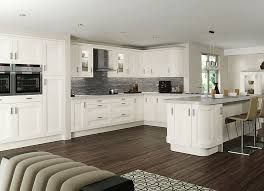 Image result for white gloss shaker style kitchen