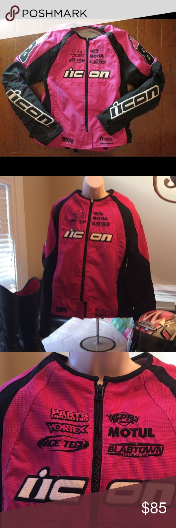 Icon Pink Motorsports Jacket Pink and Black Motorsports Jacket. Has pockets on both sides and in the rear of the Jacket. Padding in the shoulders and elbows. This Jacket has only been worn a couple of times. Size XL but it runs small. ICON Jackets & Coats