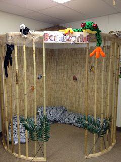 Pre-K Possibilities: Classroom Organization-Jungle/Safari Reading Hut! Lots of Jungle theme ideas!