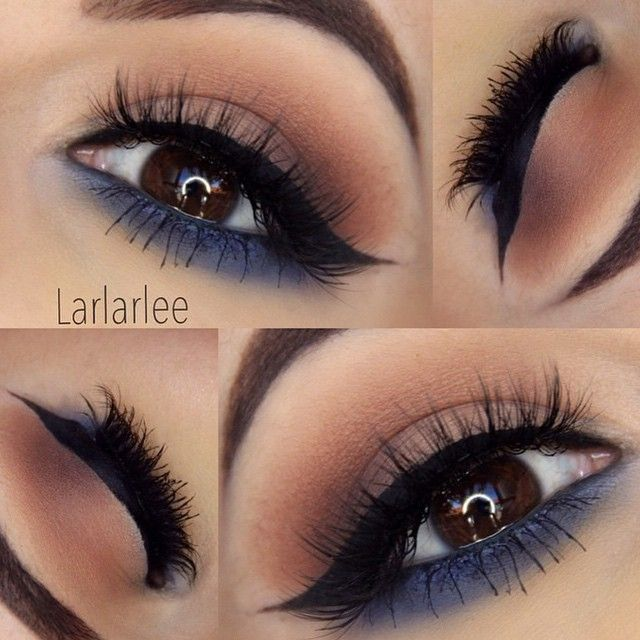"""Neutrals and Navy @larlarlee @larlarlee used the 35B for this stunning look! The lower lash line makes it ideal for nighttime and the neutral tones…"""