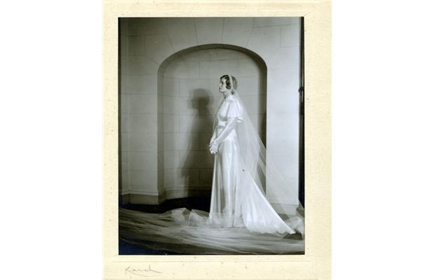 Gwenyth (Grant) Fenton; modelling wedding gowns for Devlin's at the Chateau Laurier.