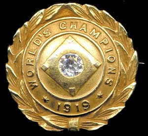 1919 World Series pin given to Jake Daubert of the Cincinnati Reds.  Sold at auction in 2011 for $82250