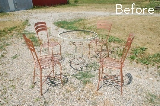 Before and After: Rustic Outdoor Dining Set
