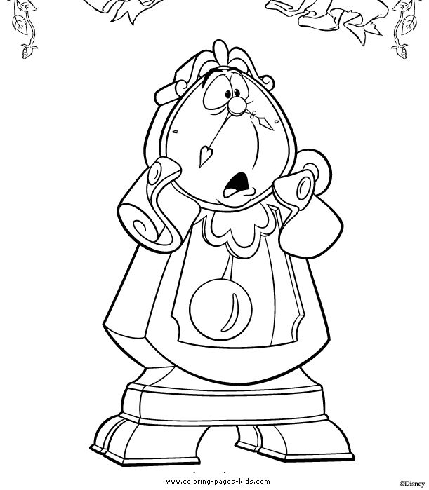 cogsworth beauty and the beast color page disney coloring pages color plate