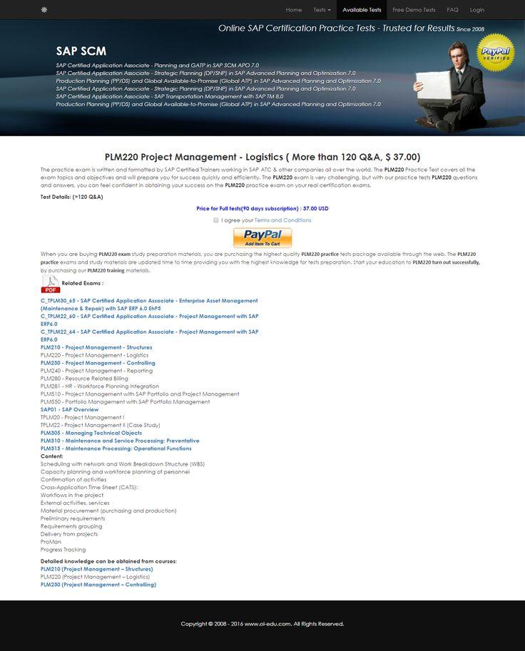 Plm220 Project Management Logistics Sap Certification