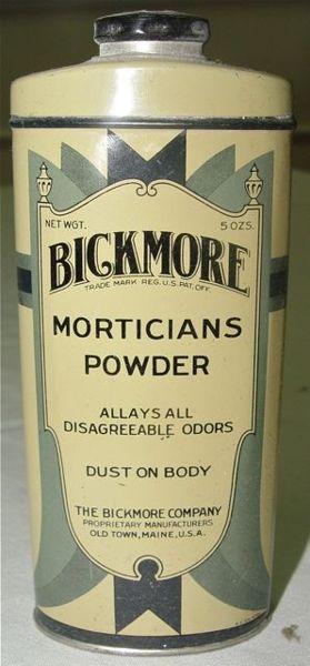 Vintage embalming powder packaging ad