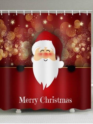 Christmas Santa Claus Pattern Waterproof Shower Curtain in 2018