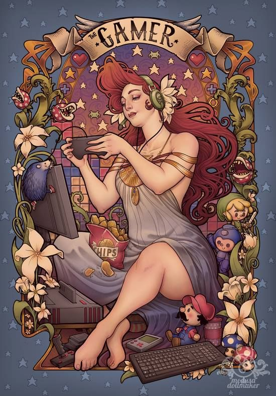 galaxynextdoor:  The Gamer Girl in all her glory Artist Medusa the Dollmaker has brought to life a celebratory piece dedicated to our favorite past time - gaming. You can own the gaming goddess on a tee (for a limited time) over at Teefury.