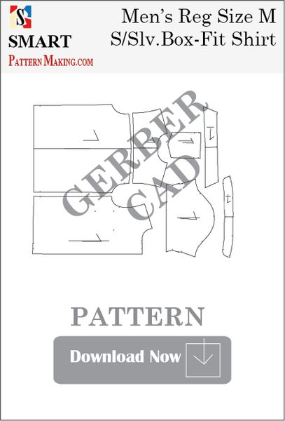 Gerber/CAD Men's Short Sleeve Box Fit Shirt Sewing Pattern - smart pattern making