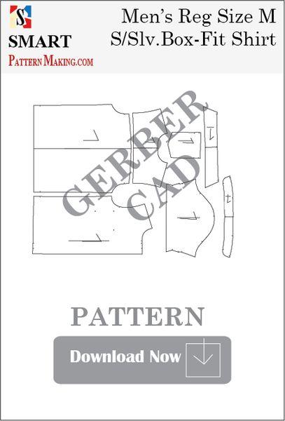 Gerber/CAD Men's Short Sleeve Box Fit Shirt Sewing Pattern - smart pattern making
