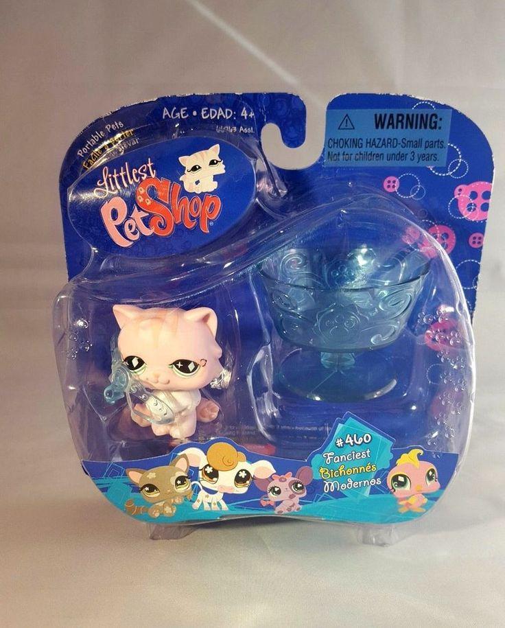 Littlest Pet Shop Pink Persian Kitten #460 Green Diamond Eyes Tiara NIP #Hasbro