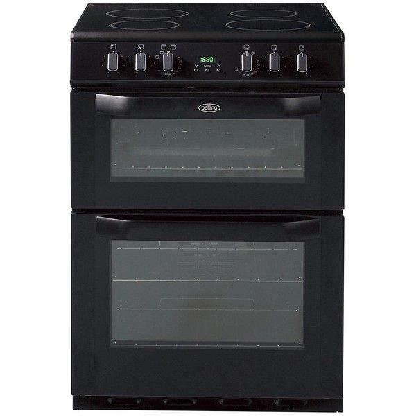 Belling Bel Fse 60 Dop 60Cm Electric Ceramic Double Oven Black ($555) ❤ liked on Polyvore featuring home, kitchen & dining, small appliances, potato oven, electric oven, electric roasting oven, kitchen electrics and electric cooker