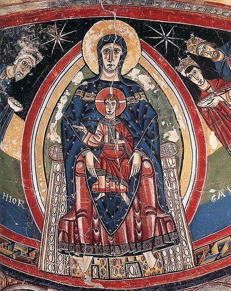 12th-century Catalan painter active 1100 - 1150,The Madonna Enthroned - Museo Nacional dArt De Cathlunya