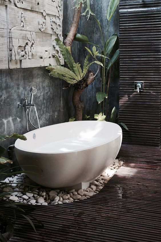 Bali bathroom inspiration {wineglasswriter.com/} I WANT THIS!
