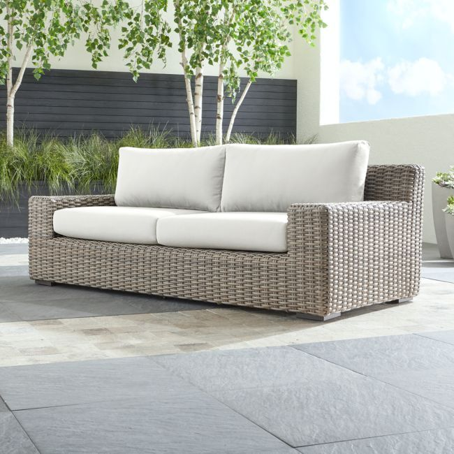 Cayman Outdoor Sofa With White Sand Sunbrella Cushions Outdoor