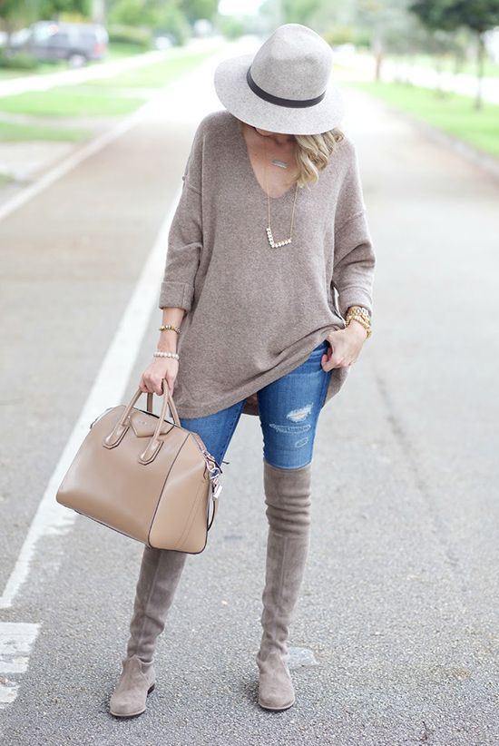 fall / winter - street style - street chic style - casual outfits - grey fedora + beige v-neck knit tunic + skinny jeans + light grey over the knee boots + nude handbag