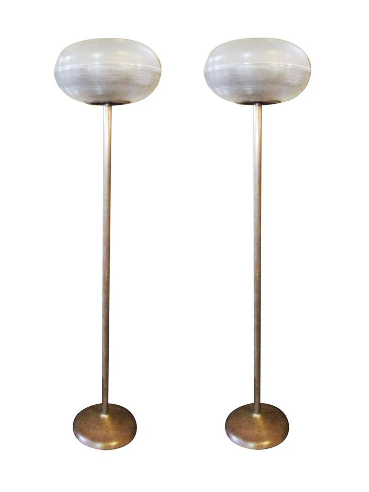 Pair of French Glass Holophane and Brass Foot Lamps | From a unique collection of antique and modern floor lamps at https://www.1stdibs.com/furniture/lighting/floor-lamps/