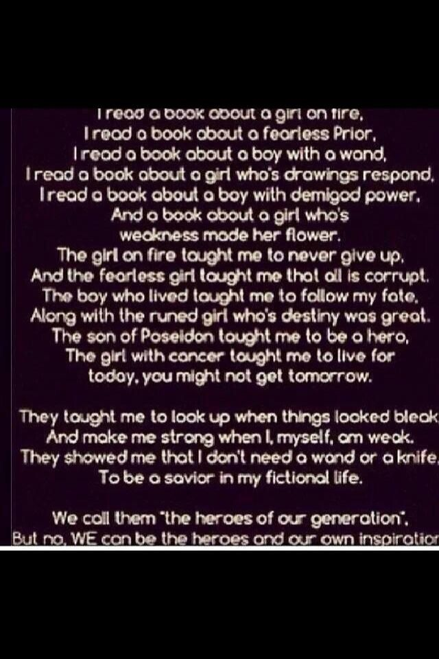 Book (The Hunger Games, Divergent, Harry Potter, TMI, Percy Jackson and the Olympians/Heroes of Olympus, TFIOS) fandom poem