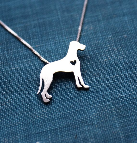 Great Dane necklace sterling silver tiny silver by justplainsimple, $40.00