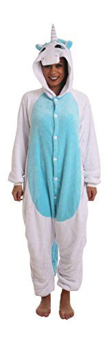 Funzoo Blue White Unicorn Suit Animal Costume Adult Onesie non Footed Pajamas M-L ** To view further for this article, visit the image link.