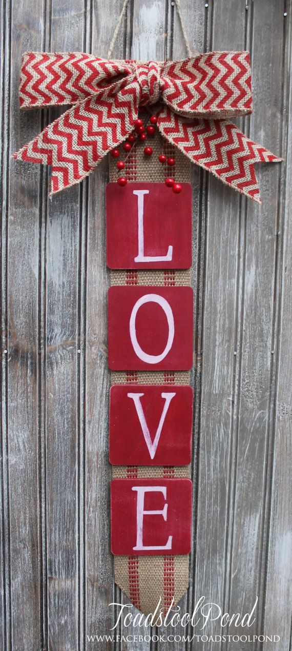 Rustic LOVE Valentines Wall Hanging Burlap by ToadstoolPond  25% off on etsy using code LOVE25, but hurry!