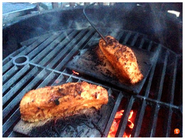 Friday night Halibut and Chicken on the plank