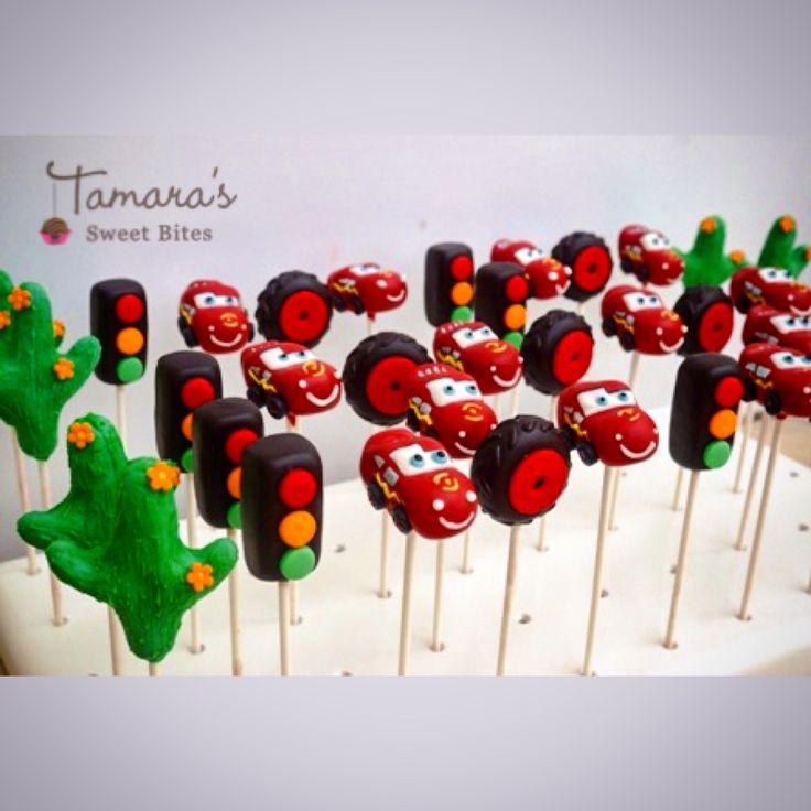 Lightning McQueen inspired cake pops