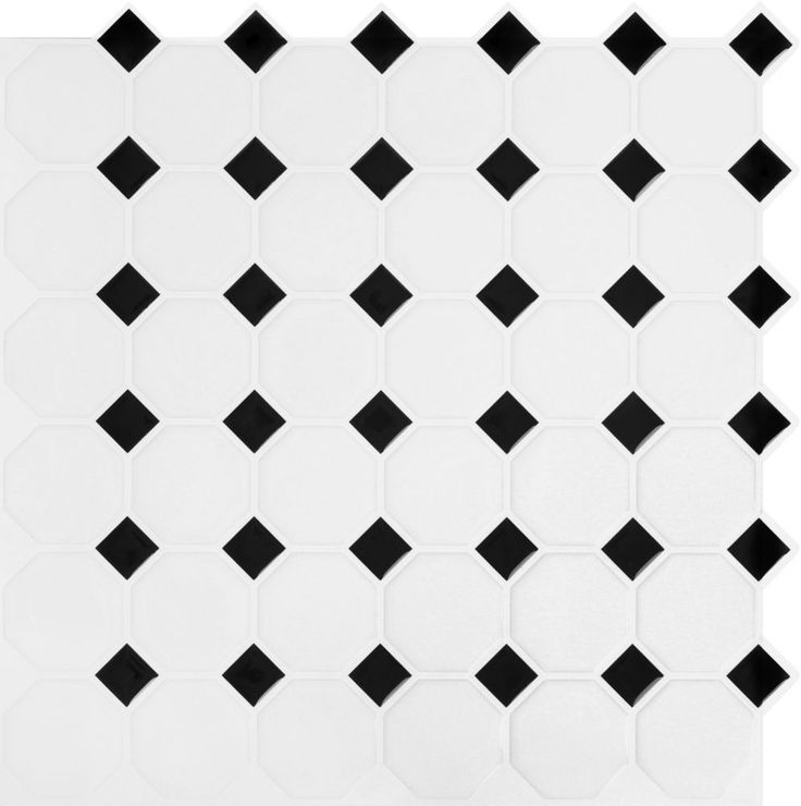 Black and White Octo Stick-It Tile 10.5 Inch x 10.5 Inch Bulk Pack (8 Tiles)