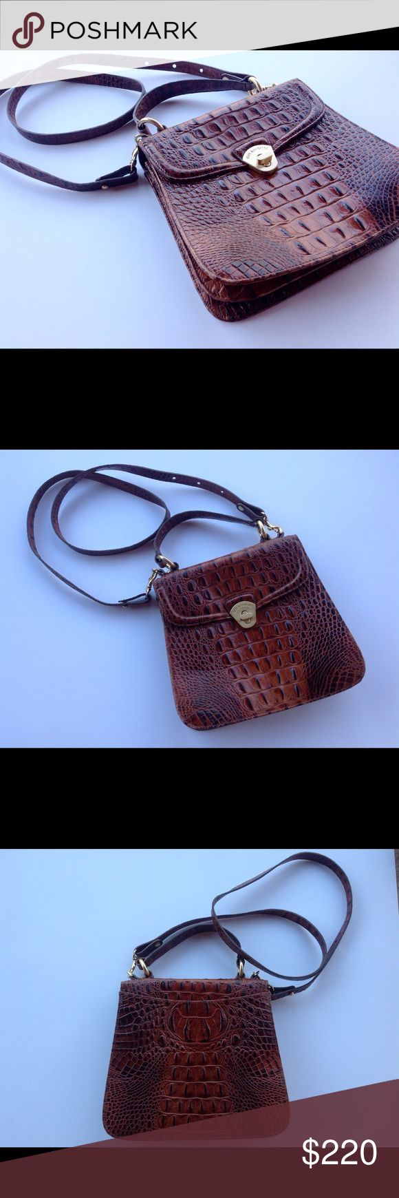 Brahmin Brown Crocodile Handbag / Crossbody Gorgeous brown bag with removable long strap. Three compartment inside with several pockets. Very clean . In excellent condition ! Measures 9 x 8.5x4 Brahmin Bags