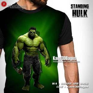 Kaos HULK, Kaos SUPERHERO, The Incredible Hulk, Kaos3D, Standing Hulk, The Avengers, Kaos Karakter, https://instagram.com/kaos3dbagus, WA : 08222 128 3456, LINE : Kaos3DBagus