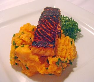 Honey Seared Salmon with Sweet Potato Mash recipe ready in 15 minutes and only 308 calories