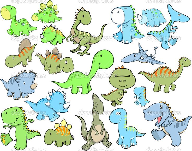 pictures of cute dinosuars | Cute Dinosaur Vector Illustration Design Set - Stock Illustration