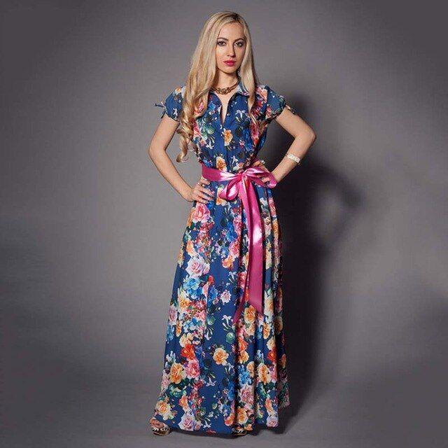 Bohemian women long dress short sleeve women floral printed spring summer dress casual ukraine vestidos 3