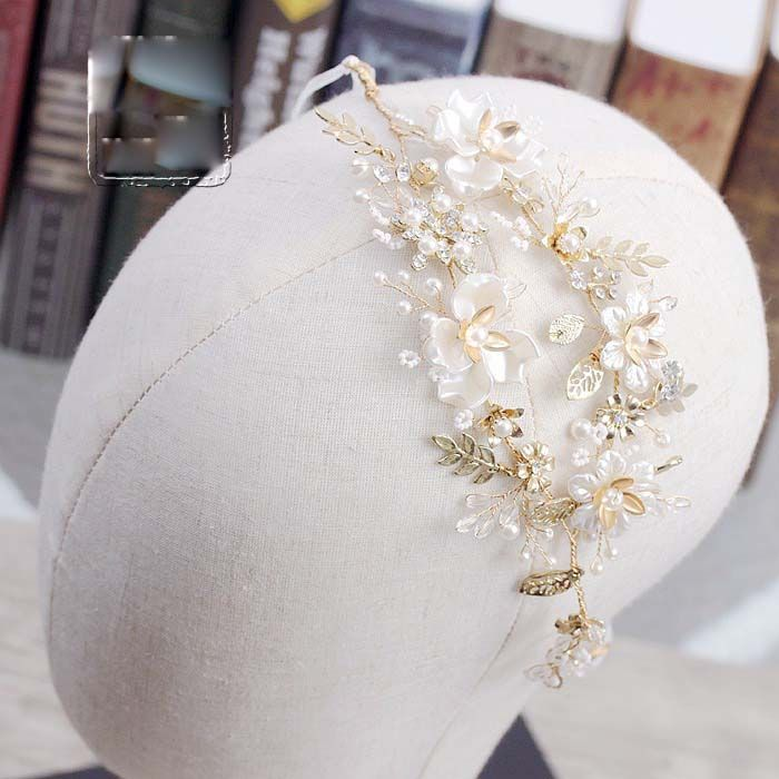 Baroque bride headband imitated pearl ceremic flower wedding headdress for brides women hair decoration wholesale-in Hair Jewelry from Jewelry & Accessories on Aliexpress.com | Alibaba Group