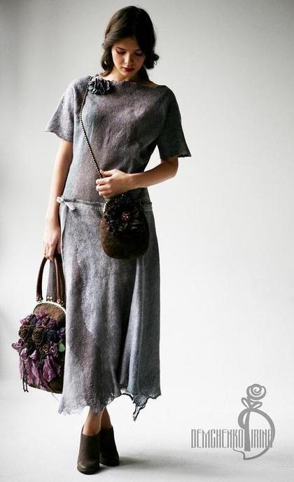 Платья ручной работы. Ярмарка Мастеров - ручная работа Валяное платье «Серебро». Handmade.