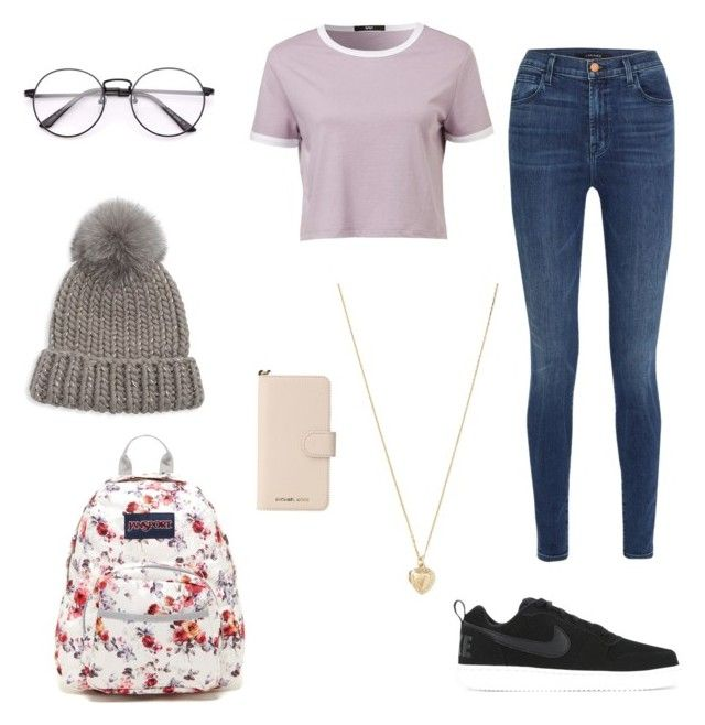 """Winter school"" by lauhg on Polyvore featuring moda, J Brand, NIKE, JanSport, Eugenia Kim, MICHAEL Michael Kors, Forever 21, Winter, school y chillin"