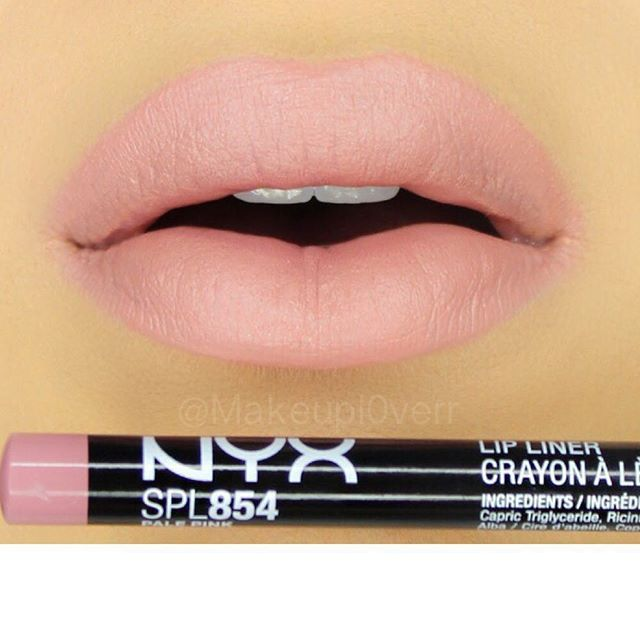 "I don't know why I'm just now trying this @nyxcosmetics pencil! But I love it!heart_eyes this is ""Pale Pink"" and I added a small amount of @memebox_usa ""Shy Marsala"" Cream Matte Lipstick"