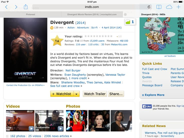 The Imdb rating for divergent is 7.3/10