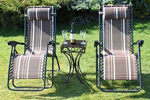SET-OF-2-Garden-Sun-Lounger-Relaxer-Recliner-Chairs-COMPLETE-WITH-METAL-SIDE-TABLE-WORTH-2599-in-Striped-Brown-Weatherproof-Textoline