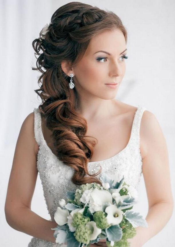 wedding hairstyles for long hair to the side 11