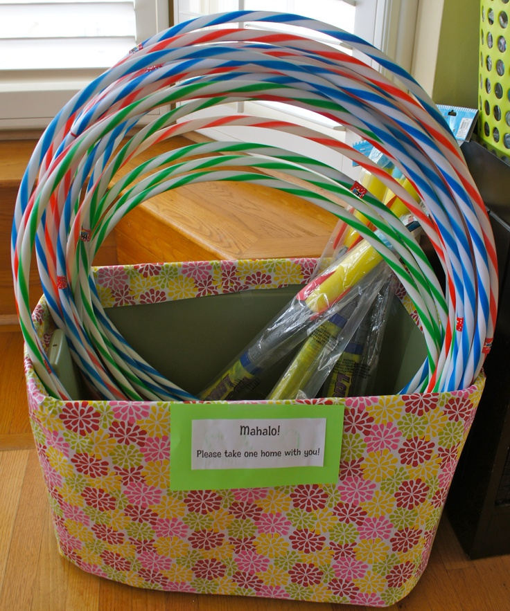 """girl's birthday luau - party favors and part of the """"dance"""" contest - hula hoops!"""