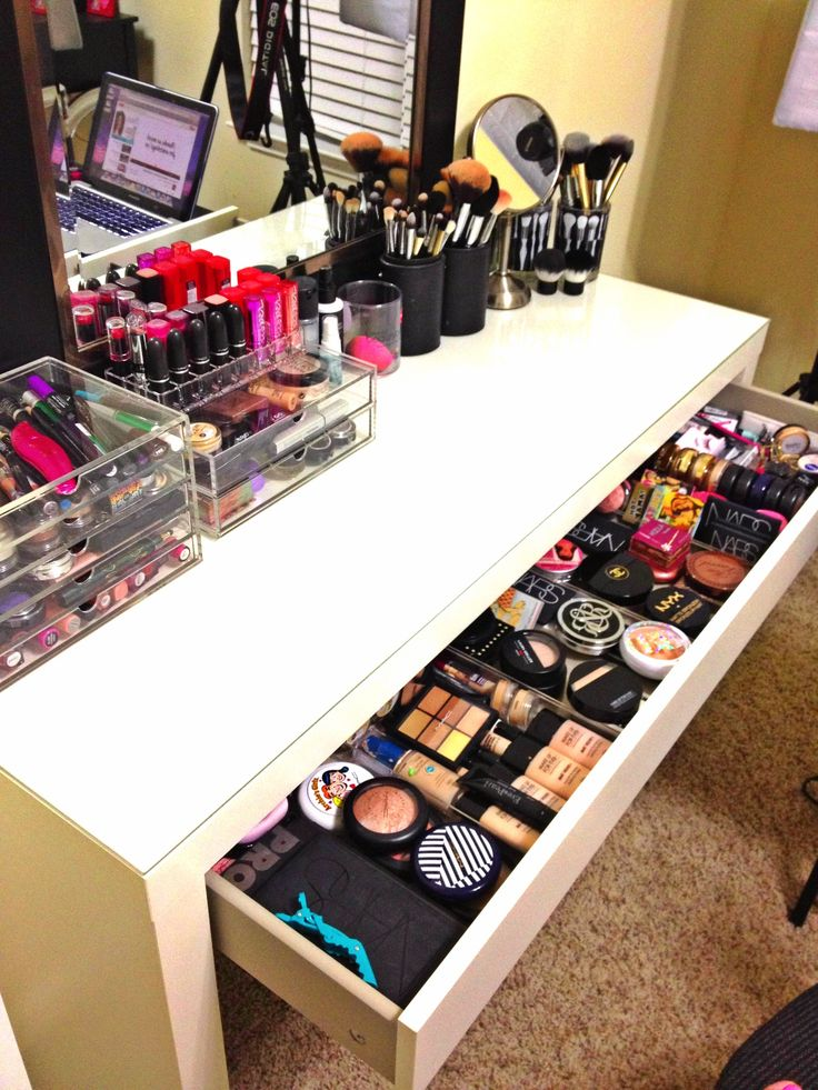 My favorite place! & playing with my makeup storage always puts me in a good mood! Can't see it but I also have the Alex 9 drawer to the left of the vanity. Ikea is a lifesaver!