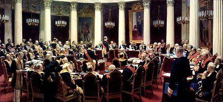 Nicola II di Russia presiede il Consiglio di Stato il 27 maggio 1901.Quadro di Ilja Repin
