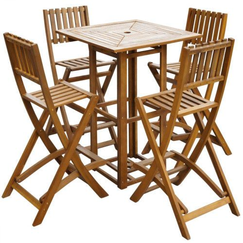 Outdoor Breakfast Bar Set 5 Piece Dining Table & Folding Chairs Patio Furniture  #SmartDealsMarket